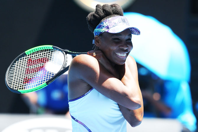 Venus Williams cannot hide her joy after downing Anastasia Pavlyuchenkova to move into the Australian Open semis on Tuesday