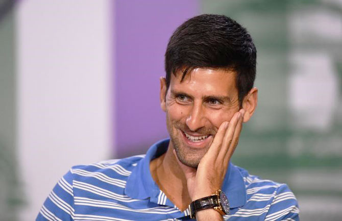 A confident Novak Djokovic is all smiles at a press conference on Sunday, the eve of the Wimbledon Championships in London