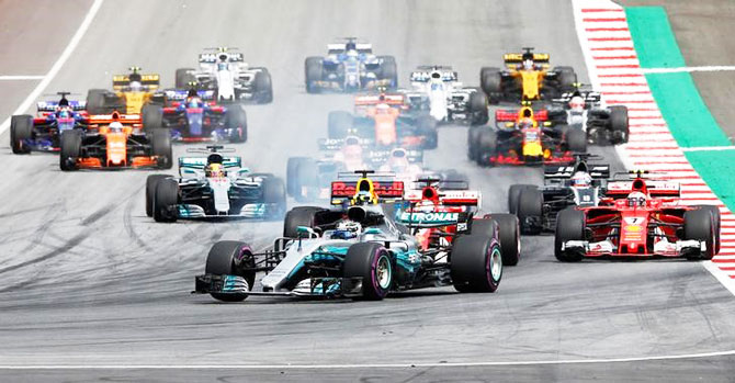 Mercedes' Valtteri Bottas leads at the start of the race at the Red Bull Ring in Spielberg, Austria, on Sunday