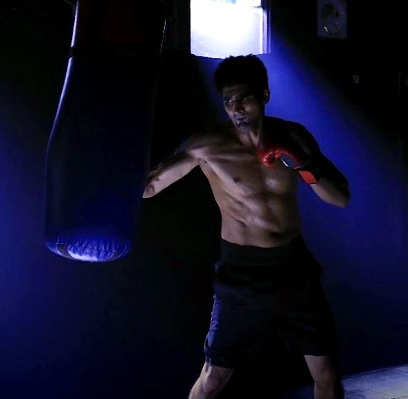 Vijender Singh during a training session