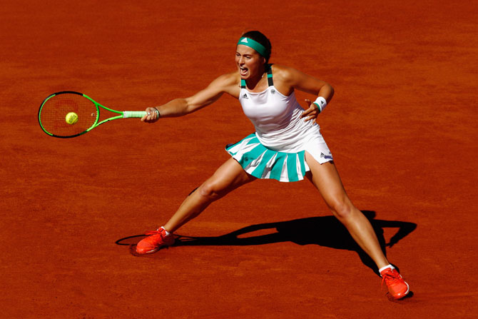 Latvia's Jelena Ostapenko in action during the French Open final on Saturday