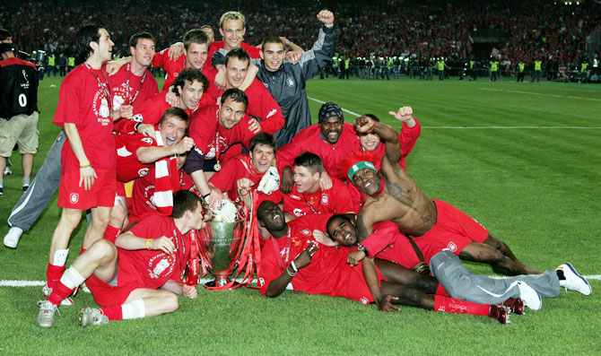 Liverpool players pose for a picture after winning the European Champions League final against AC Milan at the Ataturk Olympic Stadium in Istanbul, Turkey, on May 25, 2005