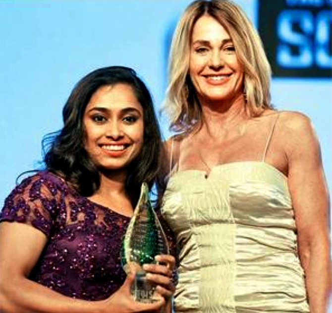 Nadia Comaneci with Indian gymnast Dipa Karmakar