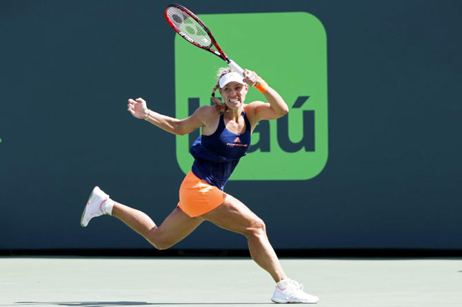 Germany's Angelique Kerber hits a forehand against USA's Shelby Rogers (not pictured) on day six of the 2017 Miami Open at Crandon Park Tennis Center in Miami, Florida on Sunday