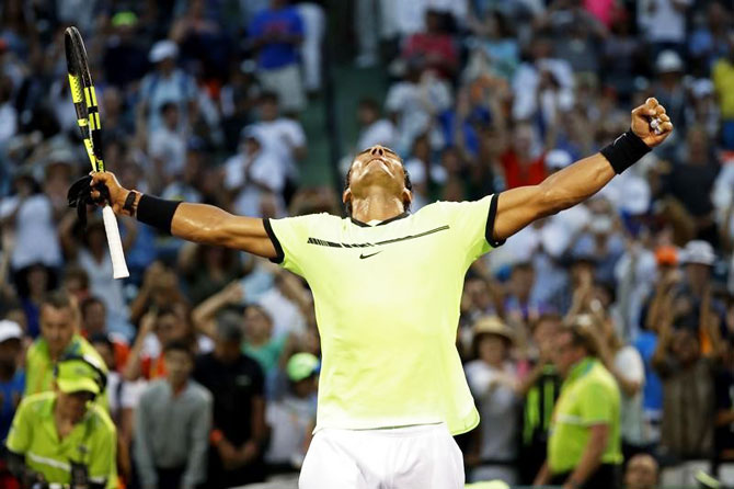 Spain's Rafael Nadal celebrates after winning his match against Germany's Philip Kohlschreiber on day six of the 2017 Miami Open at Crandon Park Tennis Center in Miami, Key Biscayne, Florida, on Sunday, March 26.