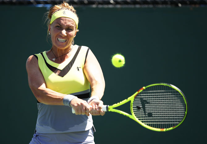 Russia's Svetlana Kuznetsova in action against USA's Taylor Townsend