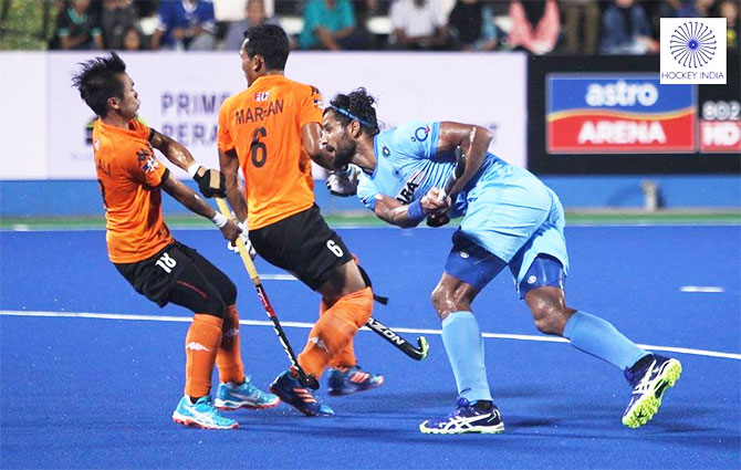 India's Rupinderpal Singh in action during the match against Malaysia during their Azlan Shah match at Ipoh, Malaysia, on Friday