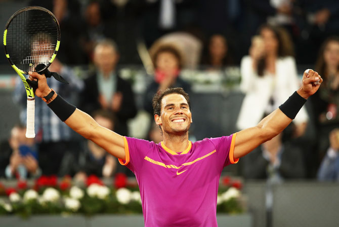 Spain's Rafael Nadal celebrates after defeating Australia's Nick Kyrgios. Nadal won 6-3, 6-1.