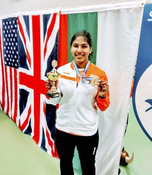 India's fencer CA Bhavani Devi from Tamil Nadu, after winning the gold medal at World Cup Fencing Championship at Iceland on Saturday