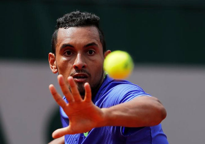 Australia's Nick Kyrgios in action during his French Open first round match against Germany's Philipp Kohlschreiber