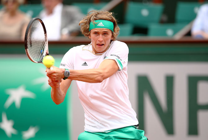 Germany's Alexander Zverev plays a return during the first round match against Spain's Fernando Verdasco