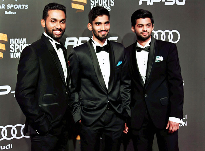 Indian badminton's poster boys, HS Prannoy, K Srikanth and B Sai Praneeth, look dapper