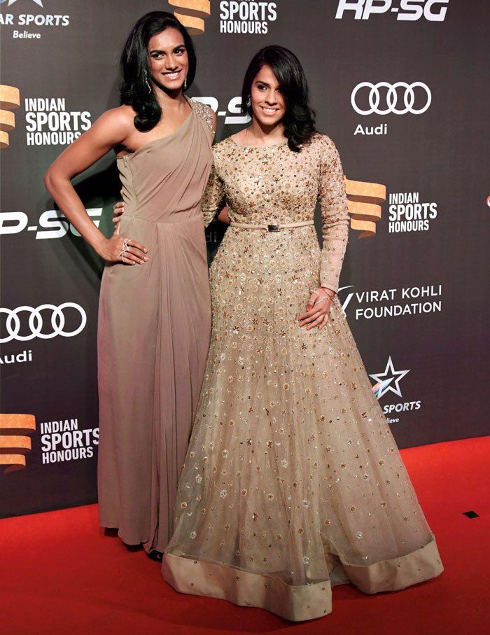 Olympians and badminton champs, PV Sindhu and Saina Nehwal make for a graceful picture on the red carpet