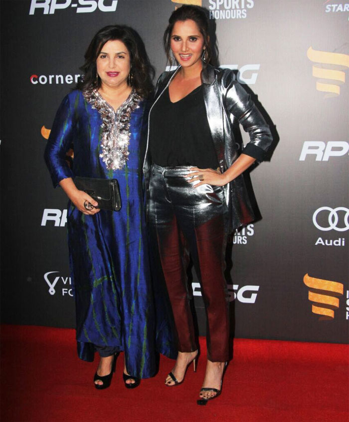 Bollywood director and cinematographer Farah Khan and tennis ace Sania Mirza dazzle on the red carpet