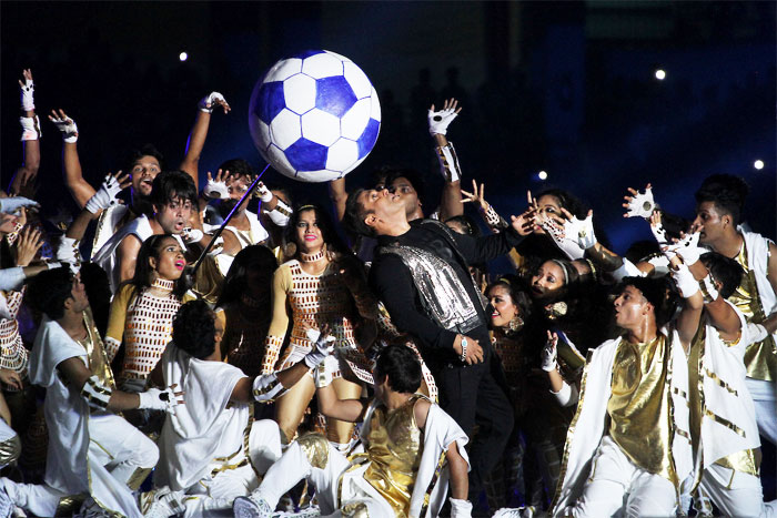 Bollywood superstar Salman Khan performs during the Indian Super League, Season 4, opening ceremony in Kochi on Friday