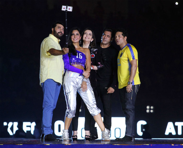 Malayalam actor Mammooty clicks a selfie with Katrina Kaif, Nita Ambani, Salman Khan and Sachin Tendulkar