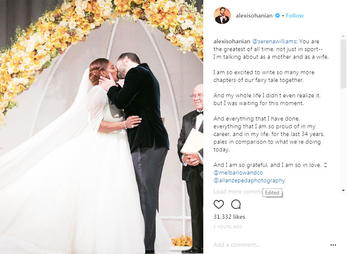Serena and Alexis Ohanian share a passionate kiss, their first as husband and wife