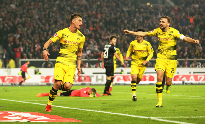 Borussia Dortmund's Maximilian Philipp celebrates scoring their first goal against VfB Stuttgart at the Mercedes-Benz Arena, Stuttgart on Friday