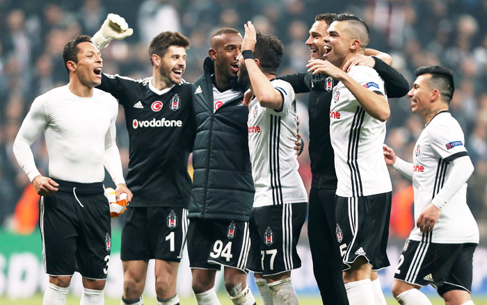 Besiktas' Pepe, Adriano, Anderson Talisca and teammates celebrate after the match against Porto  at Vodafone Arena in Istanbul