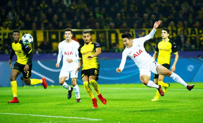 Tottenham's Son Heung-min shoots at goal during their match against Borussia Dortmund at Signal Iduna Park in Dortmund on Tuesday