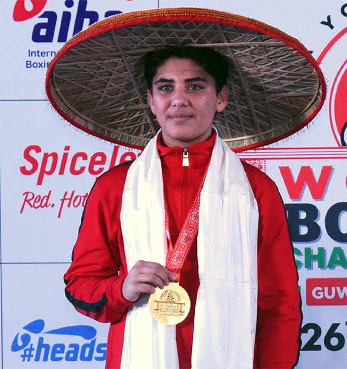 Jyoti Gulia with her gold medal at the AIBA World Women's Youth Championship in Guwahati on Sunday