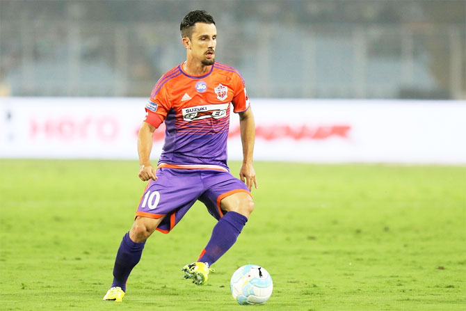 FC Pune City's Marcelo in action during their ISL match against ATK in Kolkata on Sunday