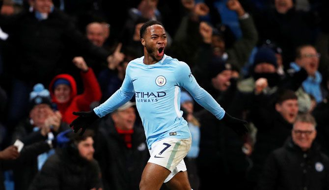 Manchester City's Raheem Sterling celebrates scoring their second goal against Southampton at the Etihad Stadium on Wednesday