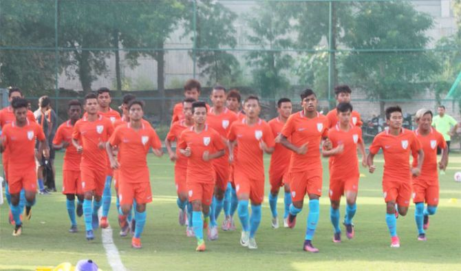 The Indian Under-17 football squad going through the paces at a training session
