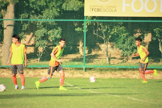 India's Jitendra going through the paces during a training session on Thursday