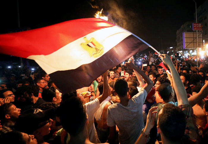 Egyptians celebrate after their team qualified for the 2018 FIFA World Cup