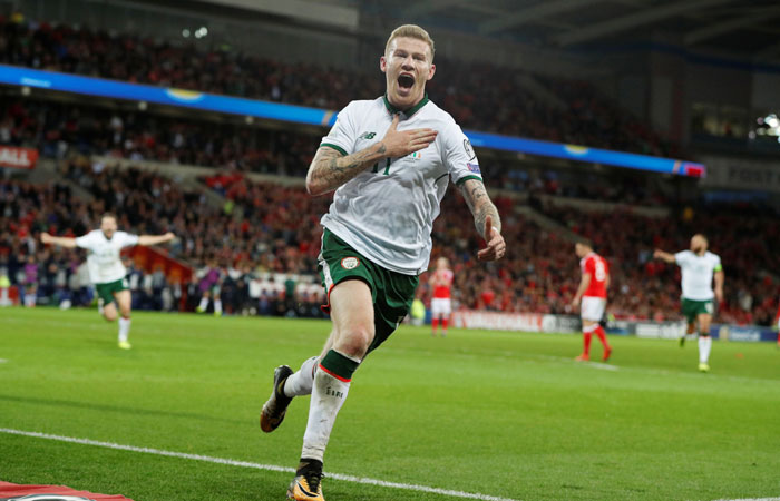 Republic of Ireland's James McClean celebrates scoring their first goal against Wales