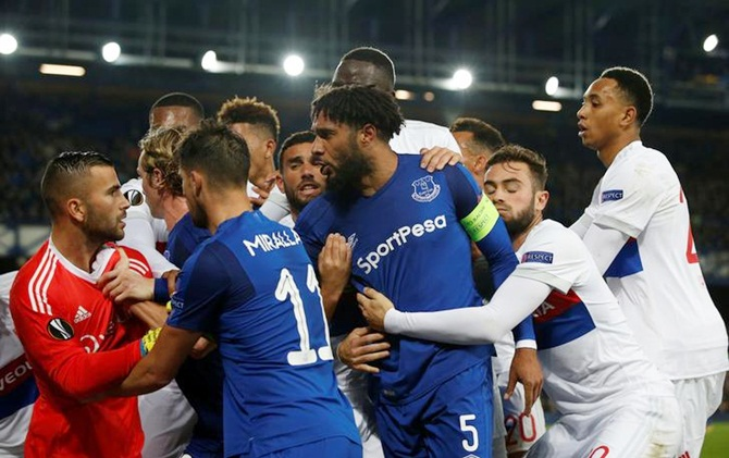 Everton players in a scuffle