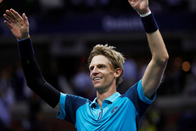 South Africa's Kevin Anderson celebrates his win against Spain's Pablo Carreno Busta in the US Open semi-final at Flushing Meadows on Friday