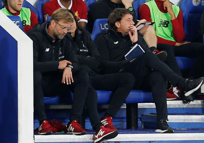 Liverpool manager Juergen Klopp cuts a frustrated figure in the dug out during the League Cup match against Leicester City on Tuesday