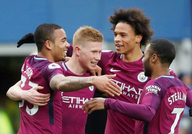 PICS: Manchester City one win from title after handsome win at Everton