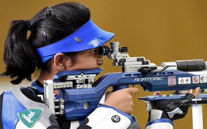 Mehuli wins silver in 10m air rifle; Chandela bronze