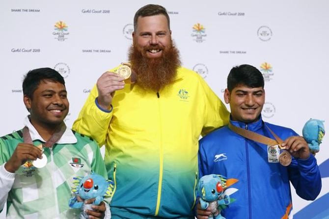 Mitharval wins 50m Pistol bronze; Jitu fails