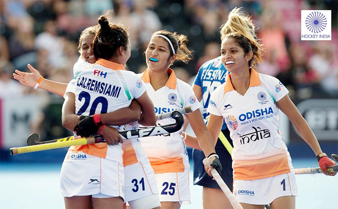 India's Lalremsiami celebrates with teammates after scoring the first goal against Ireland on Tuesday