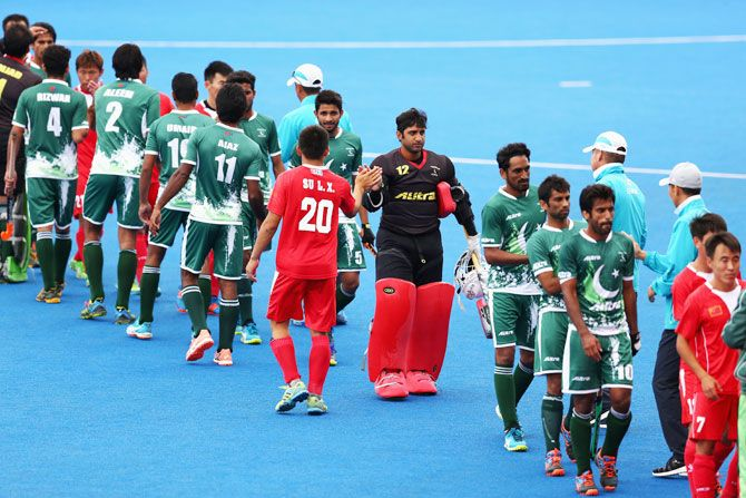 China and Pakistan players shake hands after the 7th/8th place match between Pakistan and China on day nine of the Hero Hockey World League Semi-Final at Lee Valley Hockey and Tennis Centre on June 25, 2017 in London, England. (Image used for representational purposes)