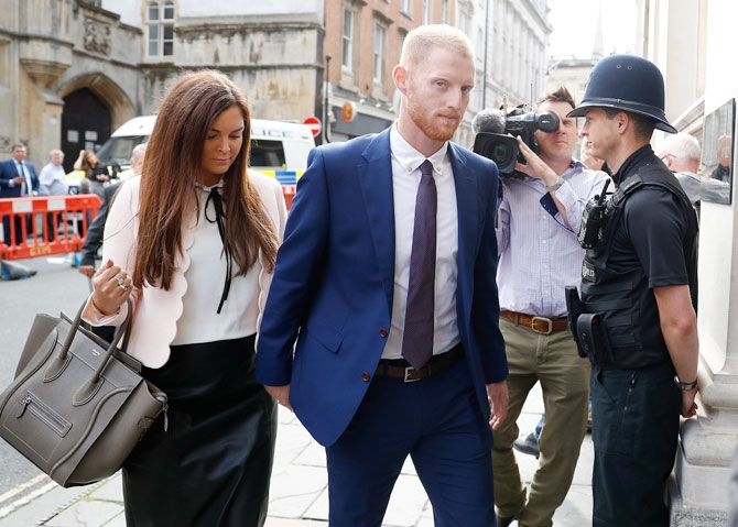 England cricket player Ben Stokes and his wife Clare Ratcliffe arrive at Bristol Crown Court in Bristol, Britain, on Tuesday