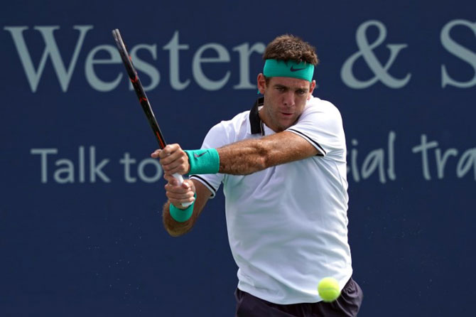 Juan Martin del Potro returns a shot against Chung Hyeon in the Western and Southern tennis open at Lindner Family Tennis Center at Mason, Ohio, on Thursday