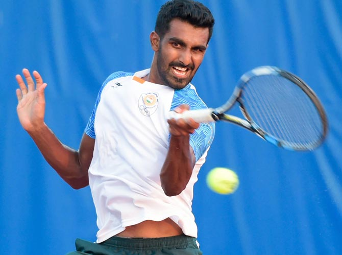Prajnesh Gunneswaran during a training session