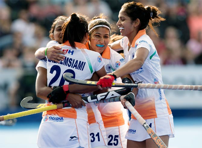 India's players celebrate a goal