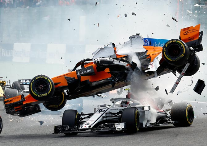 Rediff Sports - Cricket, Indian hockey, Tennis, Football, Chess, Golf - How Leclerc escaped serious injury in Belgian GP accident