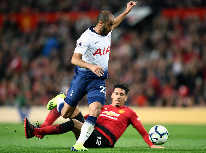 Lucas Moura, who scored twice, runs past Manchester United's Chris Smalling to score Tottenham Spurs's second goal. ManU lost 3-0, August 28, 2018. Photograph: Clive Mason/Getty Images