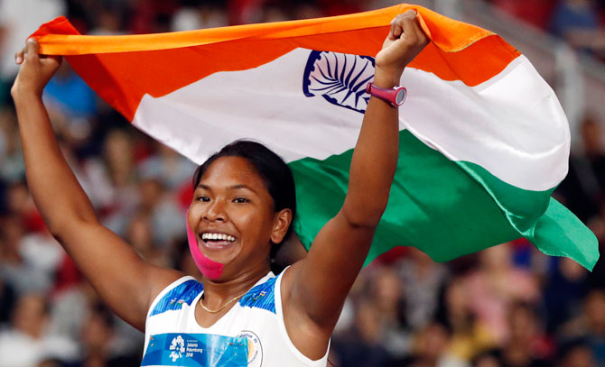 Swapna Barman who won India's first-ever heptathlon gold medal at the Asian Games in Jakarta last year. Photograph: Issei Kato/Reuters