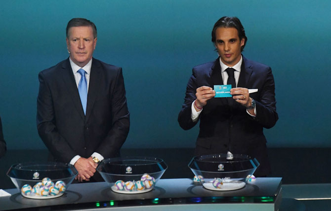 Former Portugal international Nuno Gomes draws Netherlands at the UEFA Euro 2020 qualifying draw at the The Convention Centre in Dublin, Ireland, on Sunday