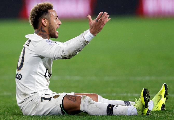 PSG's Neymar reacts. PSG's clash with Montpellier has been postponed due to the protests in the French capital