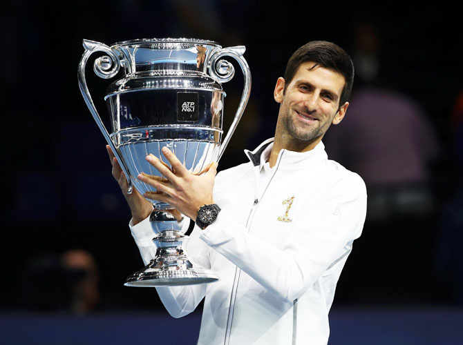 Novak Djokovic with the World Number one trophy
