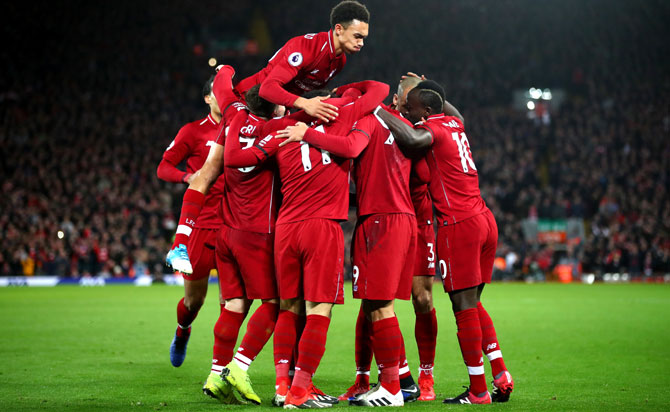 Players of Liverpool FC celebrate a goal (Image used for representational purposes).